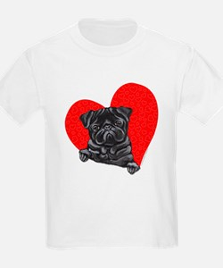 Black Pug Heart T-Shirt