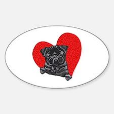 Black Pug Heart Decal
