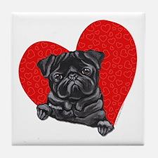 Black Pug Heart Tile Coaster