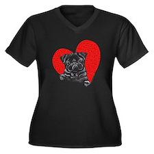 Black Pug Heart Women's Plus Size V-Neck Dark T-Sh