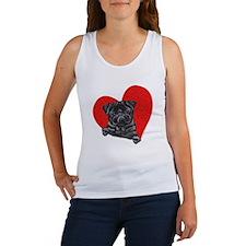 Black Pug Heart Women's Tank Top