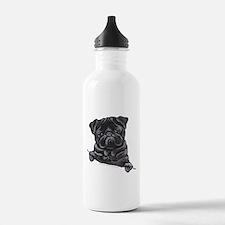 Black Pug Line Art Water Bottle