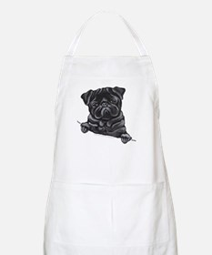 Black Pug Line Art Apron
