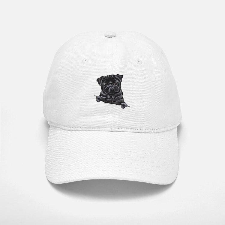 Black Pug Line Art Baseball Baseball Cap