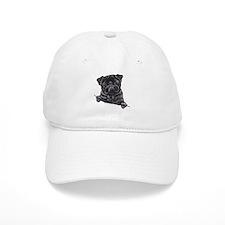Black Pug Line Art Baseball Cap