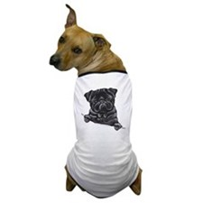 Black Pug Line Art Dog T-Shirt