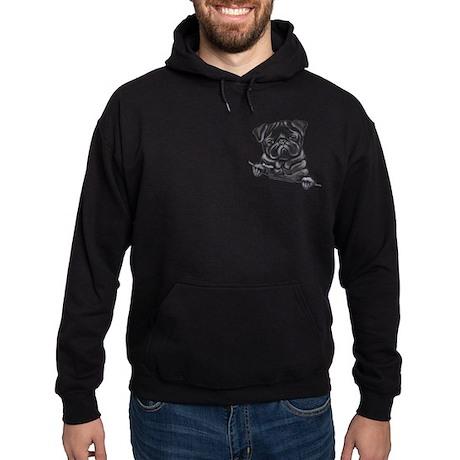 Black Pug Line Art Hoodie (dark)