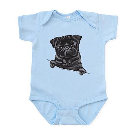 Black Pug Line Art Infant Bodysuit