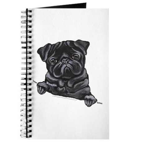 Black Pug Line Art Journal
