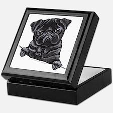 Black Pug Line Art Keepsake Box