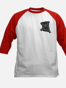 Black Pug Line Art Kids Baseball Jersey