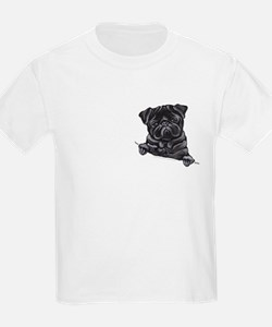 Black Pug Line Art T-Shirt