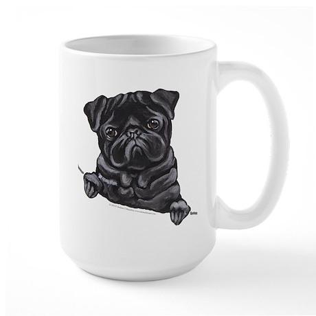 Black Pug Line Art Large Mug