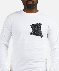 Black Pug Line Art Long Sleeve T-Shirt