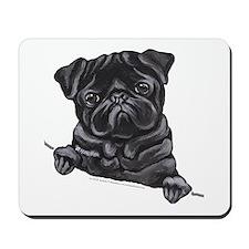 Black Pug Line Art Mousepad