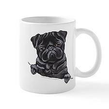 Black Pug Line Art Mug