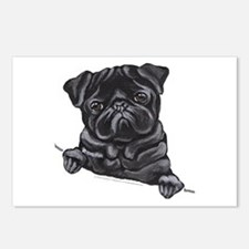 Black Pug Line Art Postcards (Package of 8)