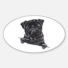 Black Pug Line Art Sticker (Oval)