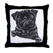 Black Pug Line Art Throw Pillow