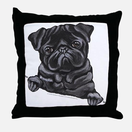 Black Pug Line Art Throw Pillow