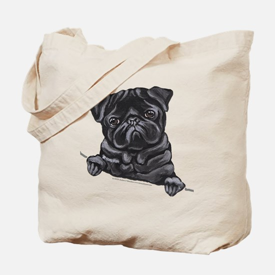 Black Pug Line Art Tote Bag