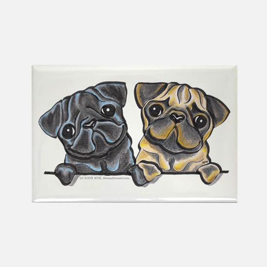 Pug Pals Rectangle Magnet (100 pack)