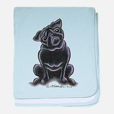 Black Pug Sit Pretty baby blanket