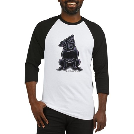 Black Pug Sit Pretty Baseball Jersey