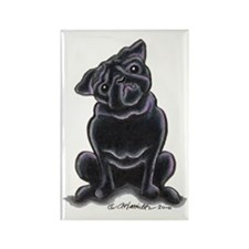 Black Pug Sit Pretty Rectangle Magnet