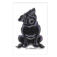 Black Pug Sit Pretty Postcards (Package of 8)