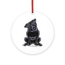 Black Pug Sit Pretty Ornament (Round)