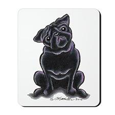 Black Pug Sit Pretty Mousepad