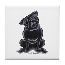 Black Pug Sit Pretty Tile Coaster