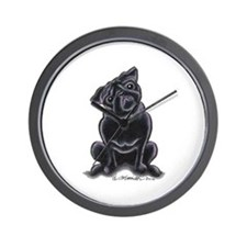 Black Pug Sit Pretty Wall Clock