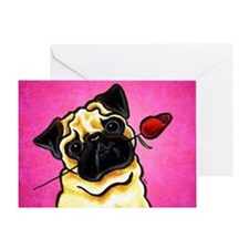 Pug Rose Pink Greeting Cards