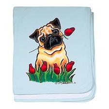 Pug 'n Roses baby blanket
