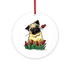 Pug n Roses Ornament (Round)