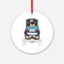 Pug Lover Car Ornament (Round)