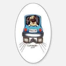 Pug Lover Car Sticker (Oval)