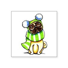"Pug Scarf Hat Square Sticker 3"" x 3"""