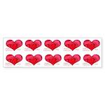 Red Rose in Heart Valentine Bumper Sticker