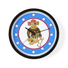 Pirate Monkey Polka Dots Wall Clock