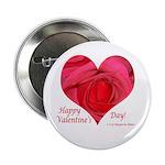 Red Rose in Heart Valentine Button