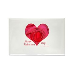 Red Rose in Heart Valentine Rectangle Magnet (10 p