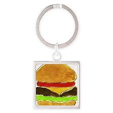 Hamburger Square Keychain