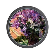Lilacs in a Window, painting by Mary Ca Wall Clock