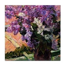 Lilacs in a Window, painting by Mary  Tile Coaster