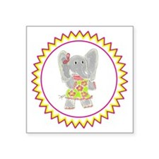 "Elephant Flower Dress Zig Z Square Sticker 3"" x 3"""
