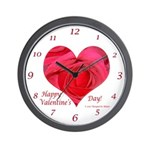 Red Rose in Heart Valentine Wall Clock