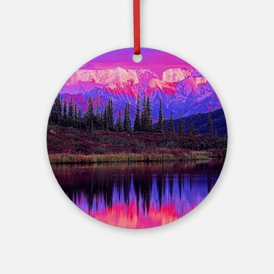 Wonder Lake at Sunset Ornament (Round)